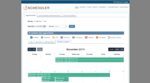 Screenshot of the appointment calendar where users schedule visits