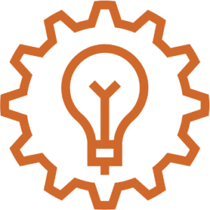 innovation icon with a gear and a lightbulb